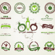 Set of organic and farm fresh food badges and labels — Vector de stock #9681008