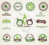 Set di organico e agriturismo etichette e distintivi di alimenti freschi — Vettoriale Stock
