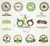 Set of organic and farm fresh food badges and labels — Vettoriale Stock