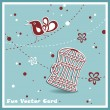 Wedding invitation card with a bird cage - Stok Vektr