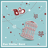 Wedding invitation card with a bird cage — Stock Vector