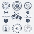 Set of vintage retro nautical badges and labels — Imagen vectorial
