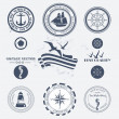 Set of vintage retro nautical badges and labels — Imagens vectoriais em stock