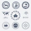 Set of vintage retro tourist badges and labels - Stok Vektr