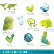 Eco friendly icon set in green and blue — Stock Vector