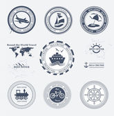 Set of vintage retro tourist badges and labels — Stock Vector