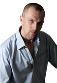 Portrait of serious young men in shirt — Stockfoto