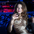 Portrait of the young beautiful woman, rest in bar — Stock Photo #10373728
