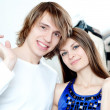Shopping smile couple at the mall — Stock Photo #10373932