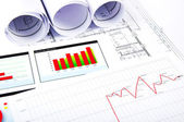 Charts, documents, blueprint — Stock Photo