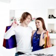 Shopping smile couple at the mall — Stock Photo #10389718