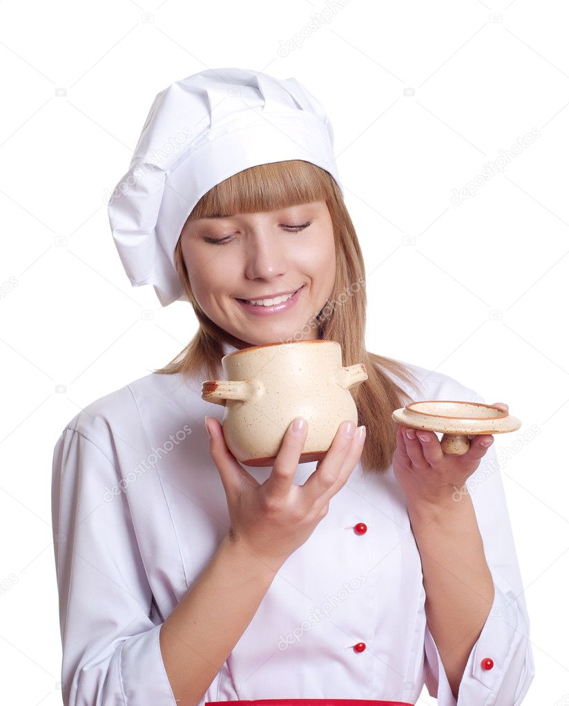 Attractive woman keeps a pot of food, white background — Stock Photo #10522285