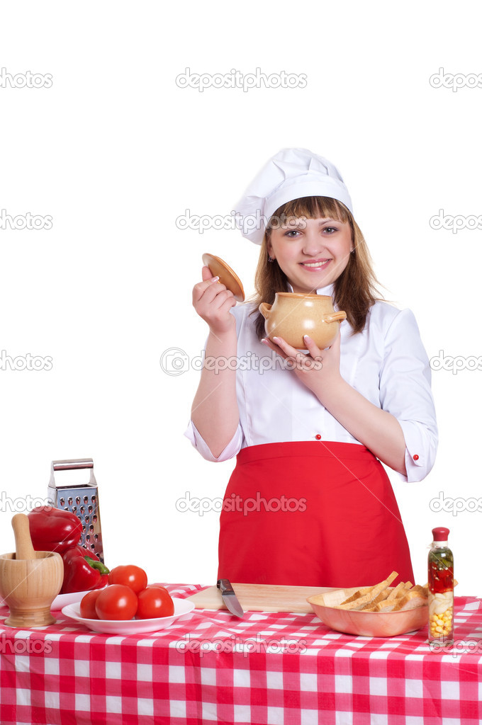 Attractive woman keeps a pot of food, white background — Stock Photo #10584154