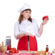 Stock Photo: Attractive woman cooking