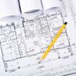 Pencil, documents and blueprint — Stock Photo