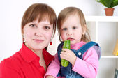 Portrait Cute cheerful child with mother — Stock Photo