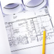 Stock Photo: Pencil, documents and blueprint