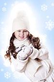Winter Girl snow flake blue background — Stock Photo