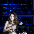 Portrait of the young beautiful woman, rest in bar — Stock Photo #9128269