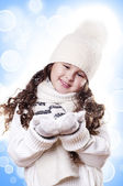 Winter Girl abstract white and blue background — Stock Photo