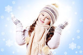 Winter Girl snow flake blue background — Stock Photo