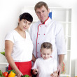 Portrait happy family is cooking dinner together — Stock Photo