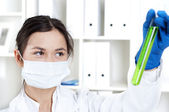 Chemist working in laboratory with scientists equipment — Stock Photo