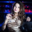 Portrait of the young beautiful woman, rest in bar — Stock Photo #9702023