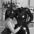Mistress Agna Devi and Her Latex Rubber SlaveGirls — Stock Photo