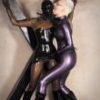 Mistress Agna Devi and Her Latex Rubber SlaveGirls — Stockfoto