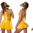 Yellow Cyber Fetish PVC Dress and Respirator — Stock Photo #8654404