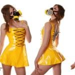 Yellow Cyber Fetish PVC Dress and Respirator — Stock Photo