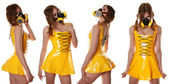 Yellow Cyber Fetish PVC Dress and Respirator — Stock Photo