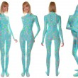 Stock Photo: Bright UV Reactive Pyjamas Style Zentai Catsuit