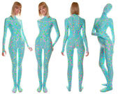 Luminoso uv reattiva pigiama stile zentai catsuit — Foto Stock