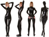 Black Spandex Zentai Fetish Catsuit — Stock Photo