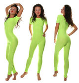 Sexy Sporty Girl in light green Fitness Suit — Stock Photo