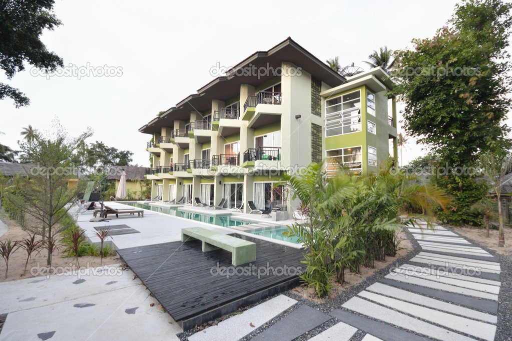 Modern resort building with surrounding area. — Stock Photo #10352760