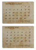 Calendar on old paper — Stock Photo