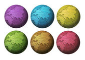 Six colorful globe — Stock Photo