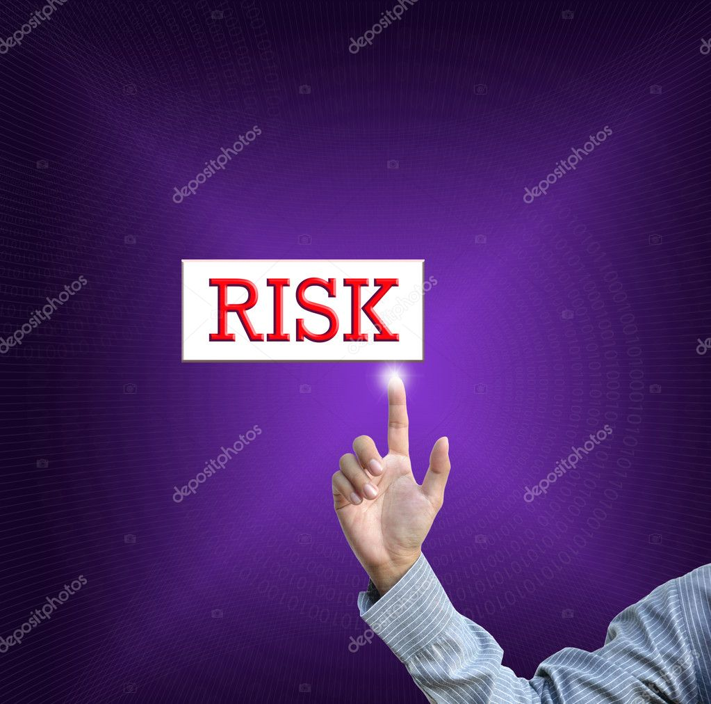 Business selection concept by businessman pointing business object on gradient purple background. — Stock Photo #9455834