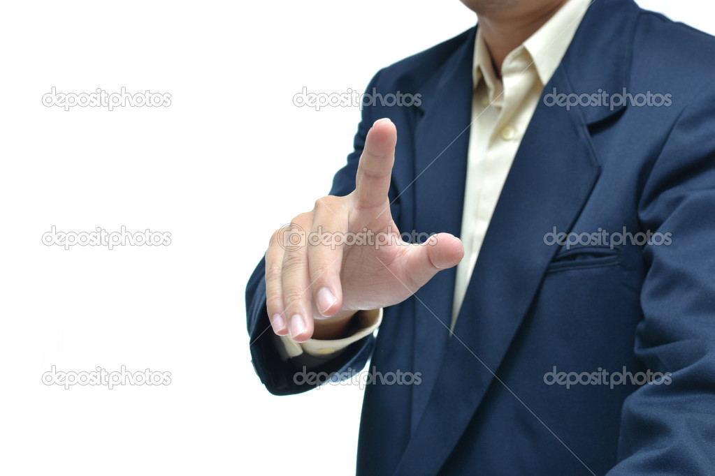 Businessman in dark blue suit with different hand concept with white background. — Stock Photo #9457500