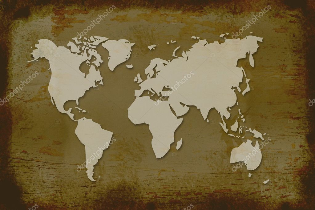 World map on grunge background. — Stock Photo #9499129
