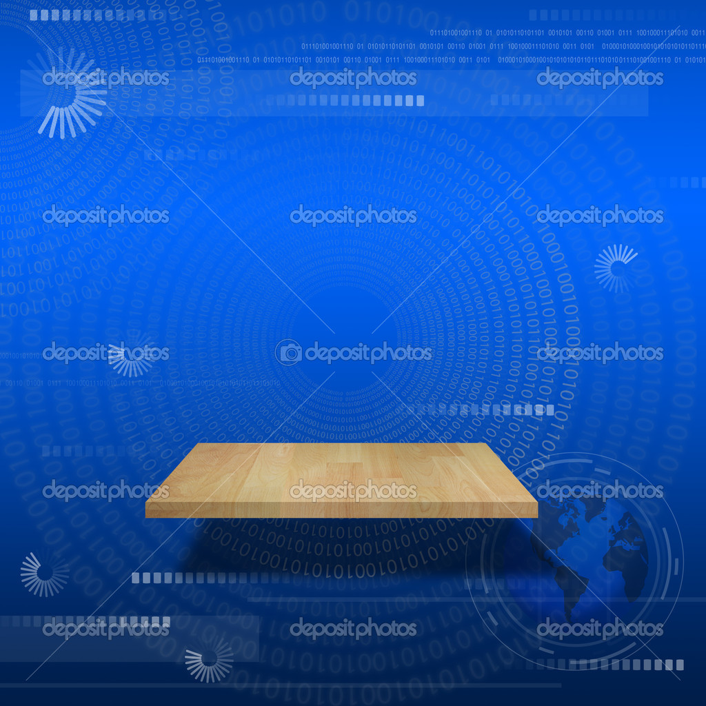 Single shelf modern background of digital and computer concept on gradient background.  Stock Photo #9894081