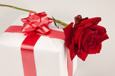 Red rose and white gift on a white background — Stock Photo