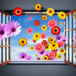 Window of Flowers - Stock Photo