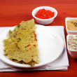 Karnataka cuisine rotti, chutney and chili sauce — Stock Photo #10354775