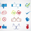 Internet website icons for approval, like,yes & no — Stock Vector