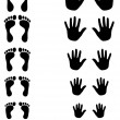 Foot and palm silhouettes of toldler, kid and adult — Imagen vectorial