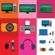 Electronic gadgets collage - television, computer set and camera — Stock Vector